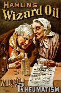 Contains 50-70% alcohol along with camphor, ammonia, chloroform, sassafras, cloves, and turpentine. In other words, it's a quack medicine but it was quite popular.
