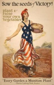 Both world wars encouraged people to plant their own vegetable gardens for food. This is from WWI.