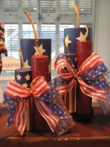 Because they're in patriotic colors and don't blow up. Like the bows on these by the way.