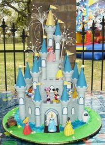 This castle cake features many of your favorite and important Disney characters. Includes Mickey and friends, princesses, and Pixar.
