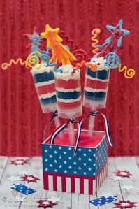 These have red and blue cake layers wit h icing as well as shooting star cookies on the top. I'm sure any American kid will like these.