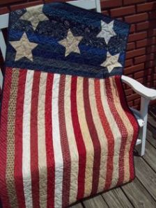And it seems to use so many shades of red, white, and blue. More or less draped on a bench for decoration.