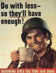 That's another famous WWII poster, too. And the GI just sits drinking his coffee.