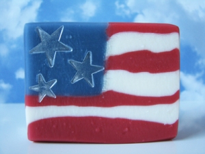 Yes, this is a bar of soap that resembles an American flag. But it will soon disappear after using it for some time.