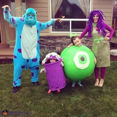 Looks like this family is really into Monsters, Inc. I kid costumes, especially Boo's.
