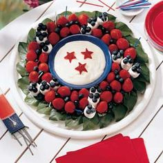 Even has some stars in the dip. Includes marshmallows,strawberries, and blueberries.