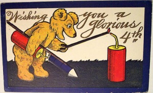 Now even bears have fireworks in these vintage cards. And he doesn't seem to have a good intention about using them either.