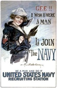 Seems like they're really pressuring guys to join the Navy with fanservice and an appeal of masculinity. From WWI by the way.