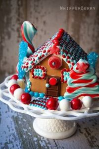Yes, this is another 4th of July gingerbread house. But this one uses more candy and I couldn't pass it up.