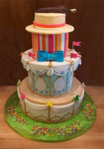 Yes, this is a Mary Poppins cake from the movie. Like how it has her umbrella and Burt's porkpie on top.