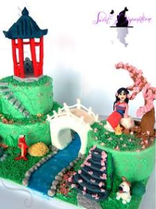 This is a cake of Mulan in a Chinese garden at home. Considering her circumstances, she's not from peasant stock to say the least.