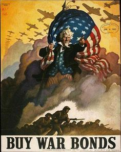 Here Uncle Sam comes from the sky in blazing glory. He also carries an American flag, too.