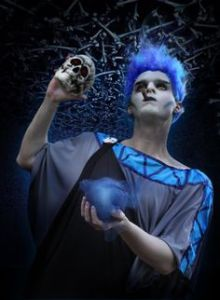 Well, here he is with a skull. Poor Hades. All he wants is to take over Mount Olympus because his job as ruler of the Underworld sucks.