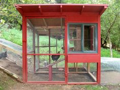 At first, I could almost mistake it for a modern glass house. Well, if it weren't for the chickens inside.