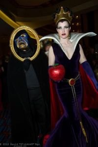 Guess this is a couple's costume idea with the guy as the Magic Mirror. Doesn't seem too happy here.
