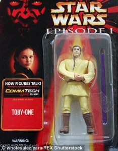 "Sorry, but ""Toby One"" is kind of a lame name for a Jedi. Also, the face doesn't look right."