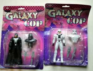 These are rip offs of Darth Vader and an Imperial Stormtrooper. And no, they don't look like Mexican luchadores underneath their helmets.
