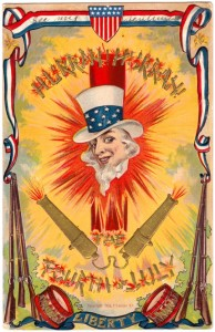 "From Babble: ""This just looks dangerous. Here a headless Uncle Sam is surrounded by fireworks with a bold Hurrah! Hurrah!"""