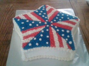 Yes, this is an American flag star cake. And it has sections with stars and stripes. Looks pretty cool.