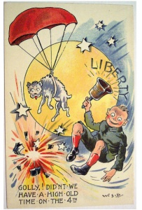 """From Babble: """"I would like to know how the dog ended up wearing a parachute. The bell and the fireworks, they make sense. The dog? Not so much."""""""
