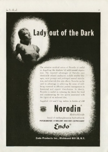 """Otherwise known by the more familiar term, """"meth."""" From Best Medical Degrees: """"The advertisement above claimed that Norodin was """"useful in dispelling the shadows of mild mental depression"""" and that it has """"relatively few side effects."""" Never mind the fact that it can result in various alarming physiological effects, including anorexia, tooth grinding, irregular heartbeat, insomnia, abnormal blood pressure, heart attacks, and strokes. It is also extremely addictive and is one of the hardest dependencies to overcome."""""""
