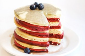 Just be sure to add blueberries for the extra red, white, and blue touch. Not sure about the red pancakes though.