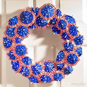 This is made from the umbrellas you find in drinks. But these have American flag stuff on them.
