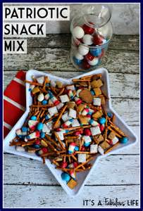 "Well, it's called ""Patriotic Snack Mix"" at any rate. I'm sure it just takes Chex mix and adding things edible that are red, white, and blue."