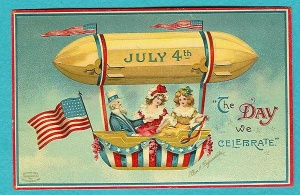 "From Just a Bunch of Stuff: ""I don't know about you, but my ideal July 4th vehicle doesn't involve something that resembles the Hindenberg or a pencil."" Has a point since there's a bunch of stuff exploding in the sky that night. So maybe a blimp or hot air balloon ride on the 4th isn't such a great idea."