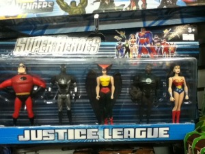 I don't think Spider Man and Mr. Incredible are Justice League members. Spider Man is from Marvel. And Mr. Incredible is from a Pixar movie.