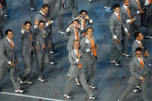 Gray suits and orange ties? Seriously, the 1980s were over by 2008. Not cool.