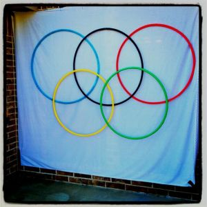 Man, this is a large flag. Not sure if the hula hoops work but it's quite inventive.