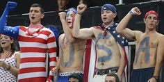 And one even has his face painted. However, you see this all the time in the US for all kinds of sporting events.