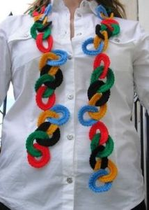 Yes, this is a crocheted Olympic scarf. Not sure if it'll keep you warm. But it's pretty cool.