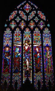 Well, I have to put some religious stuff on here. This window depicts Christ on the cross. And it's an example of a stained glass masterpiece.