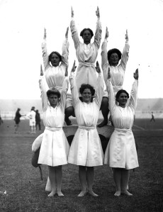 "From New Republic: ""At the 1908 games in London, the Danish women's gymnastics team undertook incredible feats of flexibility, considering their team uniforms are straitjackets."" Wonder what the women's swim team wore that year. Consider if they had a women's swim team."