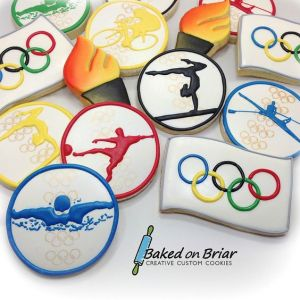 Some of these even feature sports in Olympic colors. Also include torches and Olympic flags, too.