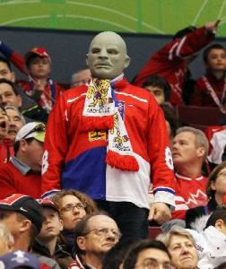 Sorry, my mistake. Just a Russian fan in a reptilian mask that sort of resembles Lord Voldemort. Probably more harmless than he appears. Except when he's drinking.