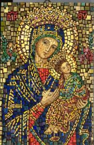 This one is of the Maddonna and Child. However, while there are a lot of early Christian mosaics, a lot of them also have pieces missing.