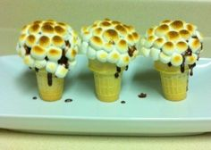 Well, these are cupcake smores that use ice cream cones. But they sure looked torched all right.