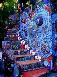 This one has a mosaic, wall and stairs. You might notice how they use shells, in this as well. Stunning.