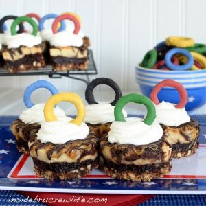 Guess it's a cake of Olympic rings. And each one is over a delicious interior of chocolaty goodness.