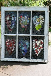 You can say the same about these hearts in this window. Each one is made up of different pieces.