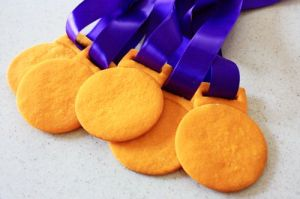 Doesn't hurt that they're attached to ribbons, too. But unlike real Olympic gold, you can eat them.