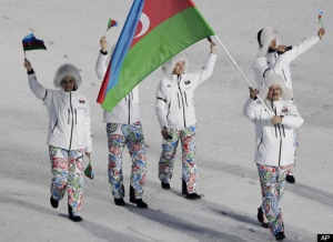 "From Fast Company: ""Say what you want about the fluffy white fur trapper hats, when Team Azerbaijan made their entrance, we couldn't help focusing below the belt. Psychadelic paisley in the colors of the Azerbaijani flag is kind of like an (acid) party in your pants."""