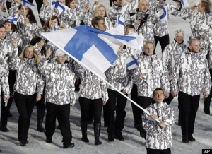 "From Fast Company: ""Is it sports or science? Looks as though the designer of Team Finland's jackets had circuit boards—rather than snowboards—on the brain."""