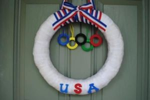 Guess this one didn't take long to make and supports Team USA. Like the red, white, and blue ribbon as well as the hanging rings.
