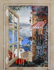 This one seems to depict someone inside looking out into a seaside town. You can almost think it's a painting.