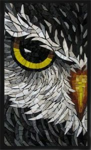 Yes, this is an owl mosaic close up. Yet, those bright yellow eyes seem so intimidating.