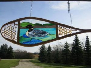 Didn't know they made stained glass displays in snowshoes. Guess they're for decoration, then.